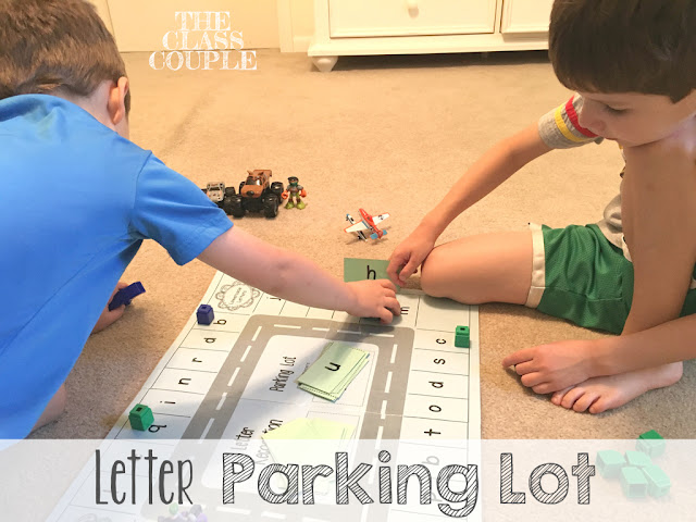 Letter parking lot is a fun way to help students practice their letters