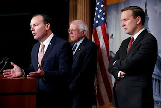 Senators Mike Lee, Bernie Sanders and Chris Murphy speak after the Senate voted on a resolution ending U.S. military support for the war in Yemen,
