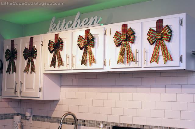 Dollar Tree Kitchen Cabinet Ribbon-Hung Christmas Bows!