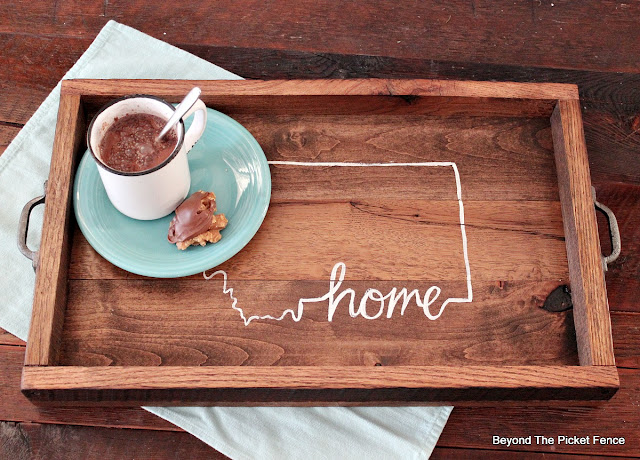 a rustic farmhouse tray made from barn wood
