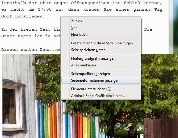 Firefor - Seiteninformationen im Kontextmenu
