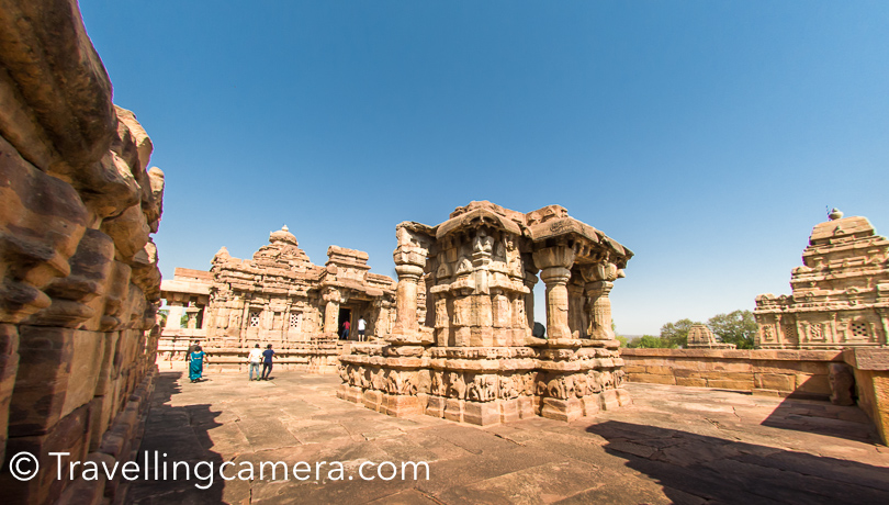 There are 9 hindu temples in Pattadakal complex in Karnataka. The oldest one is Sangameshwara temple which is dedicated to lord Shiva and a great example of Chalukyan architecture. Temples of Pattadakal include - Virupaksha temple, Mallikarujuna Temple, Papanatha Temple, Jambulinga temple, Samgameshwara & Jain temples.