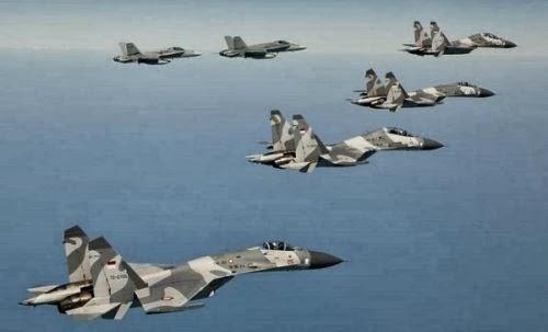 Sukhoi TNI AU terbang bersama F-18 Australia