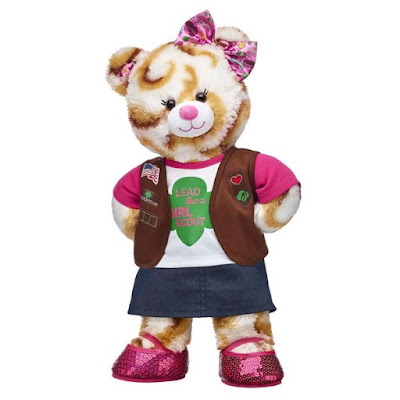 It's finally here! The official Girl Scout S'mores Campout Bear from Build-A-Bear.  Available for a limited time only.