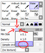 PaintTool Sai brush size adjustment