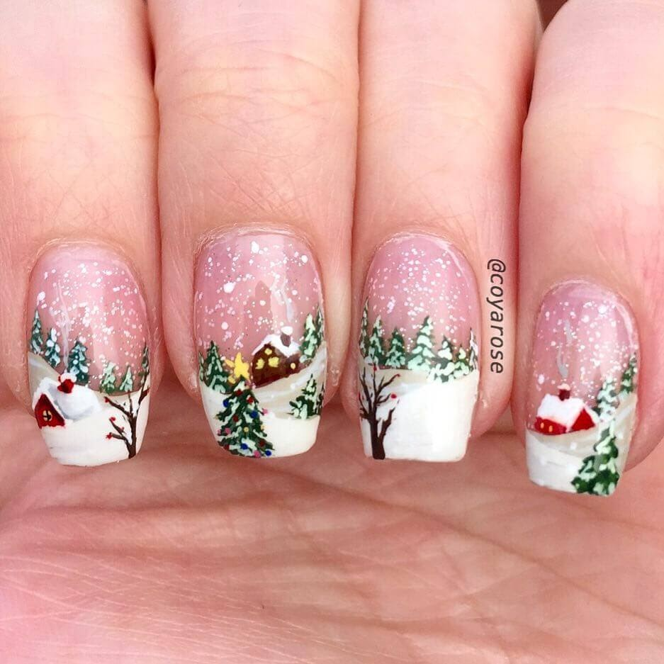 14-Snow-Villages-Nicoya-Grobman-Free-Hand-Nail-Art-Designs-www-designstack-co
