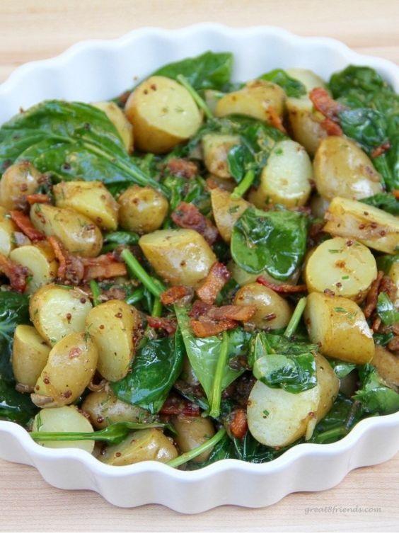 Warm Spinach and Potato Salad with Bacon Vinaigrette