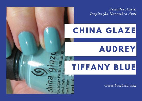 Se você está apreensiva e insegura em usar esmalte azul, este é uma aposta segura para se tentar. Audrey é uma cor azul clara com um toque de verde em um acabamento cremoso. Esta cor assemelha-se muito ao famoso Tiffany Blue. É um  que você tom que você pode usar todos os dias. Requer duas camadas.