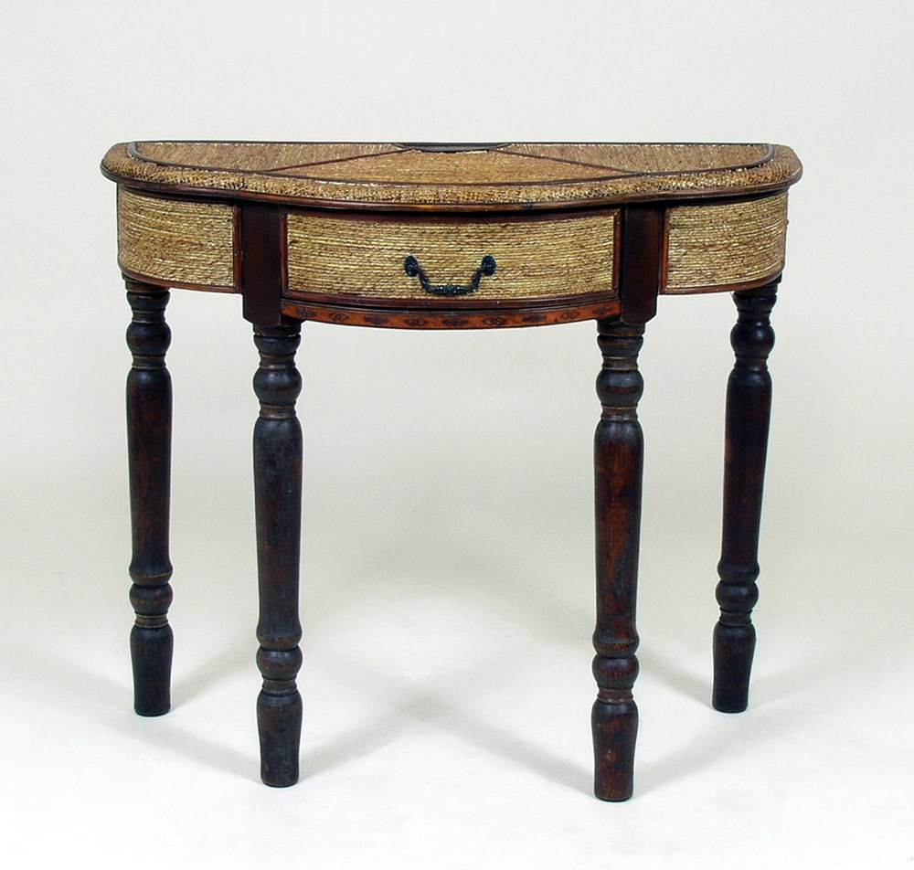 Wicker console entryway table in rattan finish with cherry trim wicker console entryway table in rattan finish with cherry trim and hand carved embellishments geotapseo Images