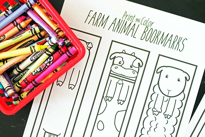 Free Printable Farm Animal Bookmarks for Kids to Color | Sunny Day