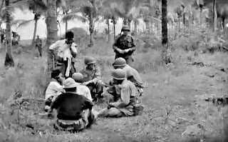 Troops of the 186th Infantry at Barrio Sulok in 1945.