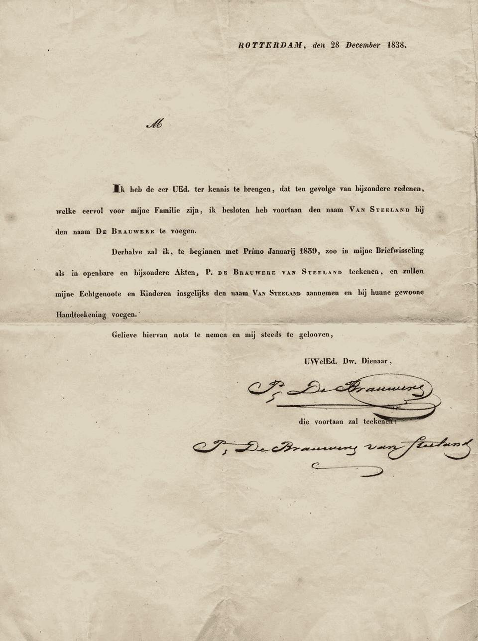 Adjonction de 'van Steeland' à 'de Brauwere' le 1er janvier 1839.