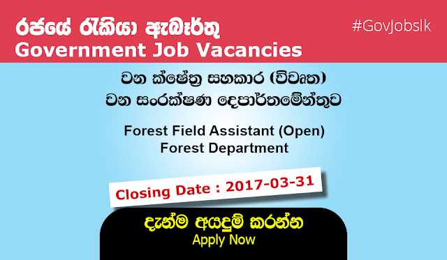 Sri Lankan Government Job Vacancies at Forest Department for Forest Field Assistant (Open)