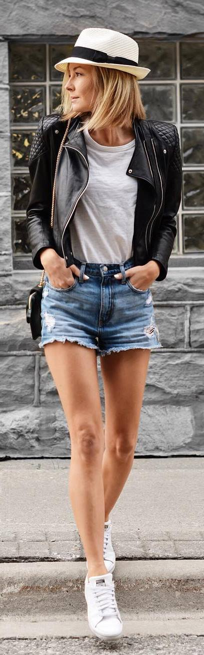 street style perfection: leather jacket + top + shorts