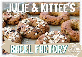 Our new vegan and gluten-free e-cookbook entitled Julie and Kittee's Bagel Factory.
