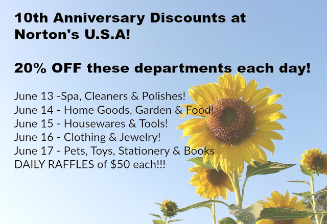 10th Anniversary discounts at Norton's USA