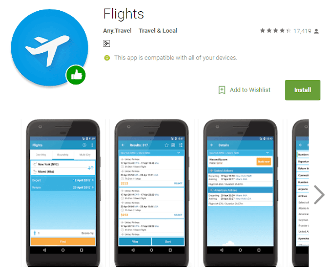 google flights android app