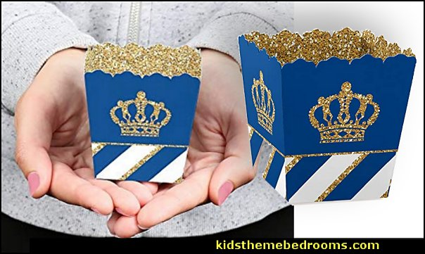 Royal Prince Charming - Party Mini Favor Boxes - Baby Shower or Birthday Party Treat Candy Boxes
