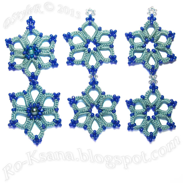 Tatting connected flower motifs with seedbeads