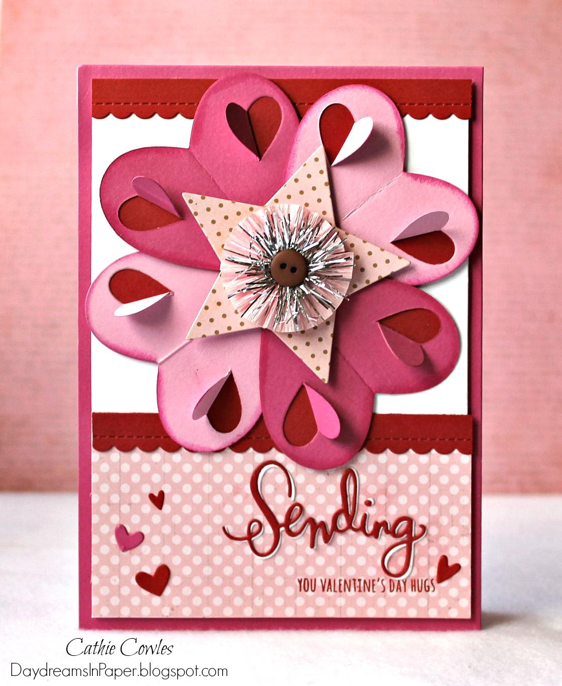 daydreams in paper heart fold flower card