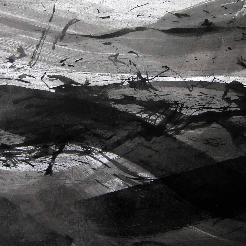 Encre de Chine et  lavis sur papier de soie marouflé sur papier, 35 x 35 cm, 15 avr. 18  - © Annik Reymond