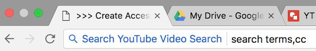 """search terms,cc"" typed in Chrome Omnibox configured to search YouTube"