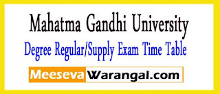MGU Degree Regular/Supply Exam Time Table 2017