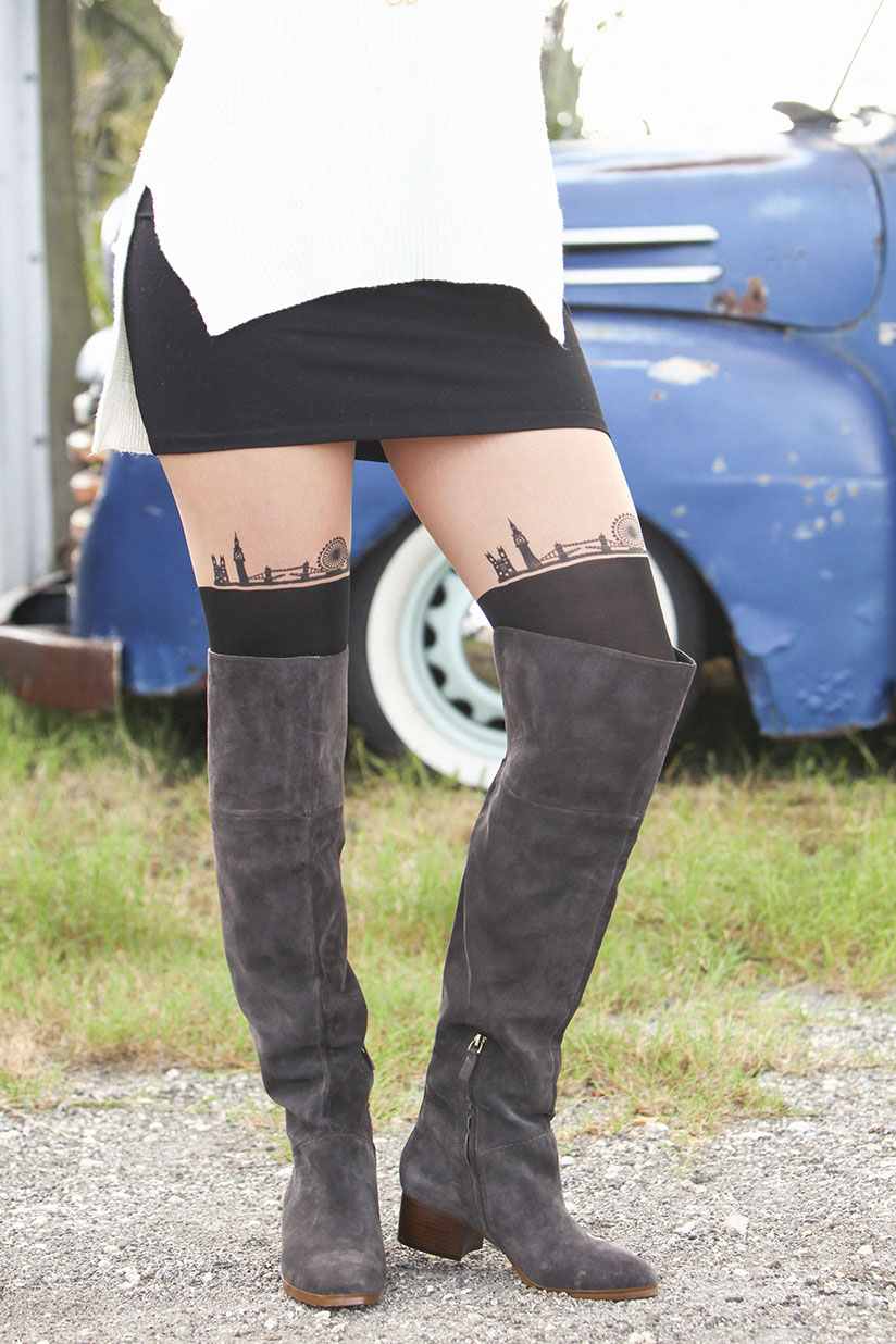 Amy West in over the knee tights and boots