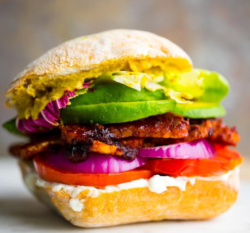 BBQ Tempeh Avocado Sandwich