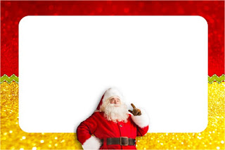 Para hacer invitaciones, tarjetas, marcos de fotos o etiquetas, para imprimir gratis de Santa Claus en Rojo y Dorado