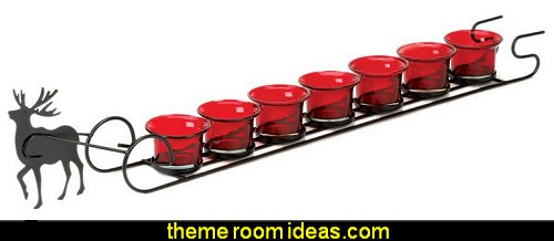Reindeer Sleigh Candle Holder Display