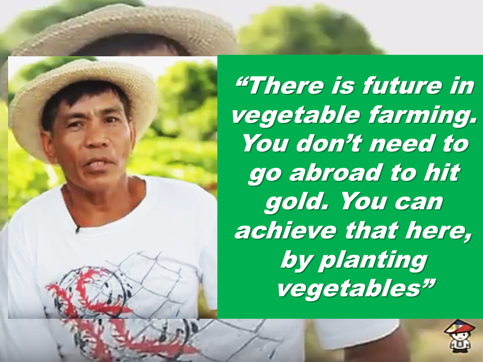 "Johnny Gatuz, 55-year old, a former OFW who worked in Saudi Arabia for five years, tills his farm in San Rafael, Bulacan with the help of his wife, Marivic.  The Gatuzes borrowed P50,000 for the rent of their first hectare of land where they planted squash and okra.  Their turning point happened in 2015. They started intercropping and planting tomatoes, ampalaya, and papaya.   Before, he rents his farmlands. Now, expanded it with 4.5 hectares of land now. He also has his own water pump , power spray, grass cutter, and a hand tractor. Just 90 minutes ride away from San rafael, another smallholder farmer, Rowena Mendez Manalo proved that there is indeed money in farming, so much that his son who is a former  OFW (seaman) no longer needs to work overseas. In March last year, after two days straight  of counting every corn harvest priced at 10 each, they earned their first ₱1 million.  It was a  great relief for Manalo and her husband Jun, who two decades ago rented their first 5,000 square meters of farmland with a loaned capital of P5,000. Part of which they used in buying ampalaya and string beans seeds.  As their neighbor who are veteran farmers taunt them, her husband Jhun would console her with a promise that one day, they will have their own farm, including the lands of those who belittled them.  After 20 years, the Manalos now own seven hectares of farmland on which they grow corn and eggplants. The purple eggplants they produce make their farm resemble lavender fields during the harvest time.  These former OFWs who became farmers and now earning more than they are enjoying while working miles away from their families are now both nominated for East-West's ""Search For 35 Hero Farmers"" across the country. With constant seminars combined with their own skills in farming that they have developed overtime through experiences, they are now enjoying a good life with their loved ones.  Manalo and Gatuz have both been nominated for East-West's ""Search For 35 Hero Farmers"" across the country. Source: Manila Standard Read More:       ©2017 THOUGHTSKOTO www.jbsolis.com SEARCH JBSOLIS, TYPE KEYWORDS and TITLE OF ARTICLE at the box below"