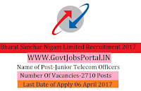 Bharat Sanchar Nigam Limited Recruitment 2017– 2710 Junior Telecom Officer