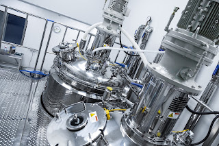 sterile production facility with stainless steel vessels