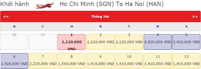 Vé máy bay tết Hồ Chí Minh đi Hà Nội chỉ 2,220k vnđ