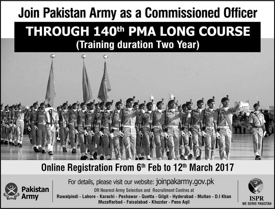 Join Pak Army Through 140 PMA Long Course As Commissioned Officer