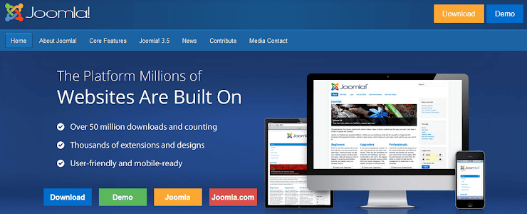 Joomla CMS for websites.