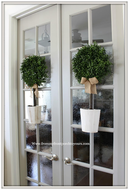 French Country-French Farmhouse-Office Doors-Dorian Gray-Sherwin Williams-Door Topiaries-Pier 1-Foyer-From My Front Porch To Yours