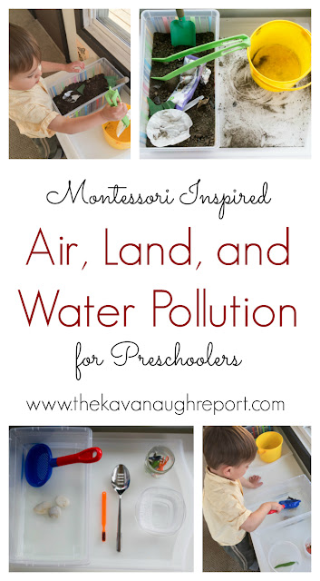 Montessori inspired trays to explore air pollution, water pollution and land pollution for preschoolers.