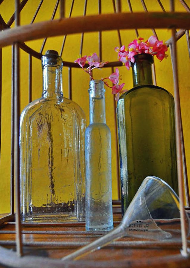 detalle de botellas y frascos de farmacia en jaulas