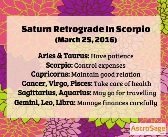 Saturn retrograde in Scorpio is on March 25, 2016.