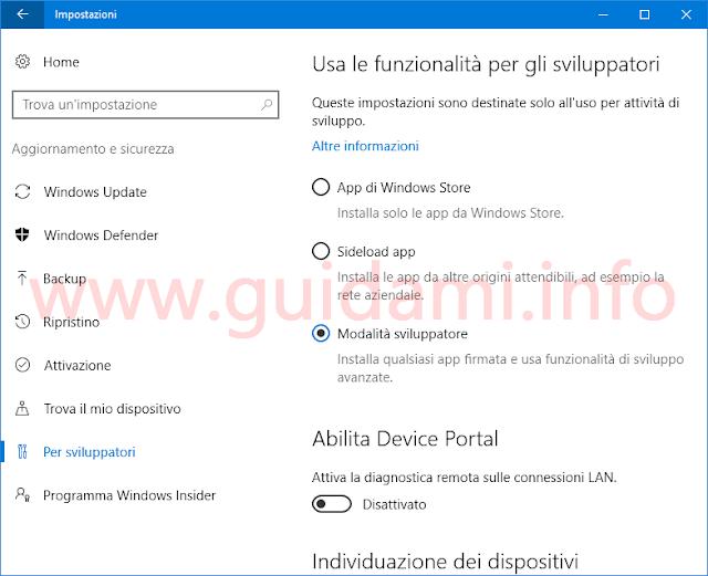Windows 10 attivare Modalità sviluppatore