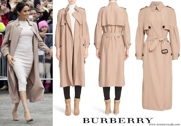 Meghan Markle wore BURBERRY Maythorne Mulberry Silk Trench