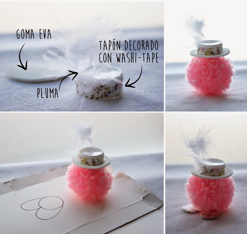Como hacer muñecos con pompones de lana - Haciendo el sombrero con un tapón, pluma, goma eva y washi-tape