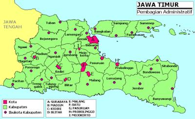 Peta Provinsi Jawa timur beserta Kabupaten dan kota