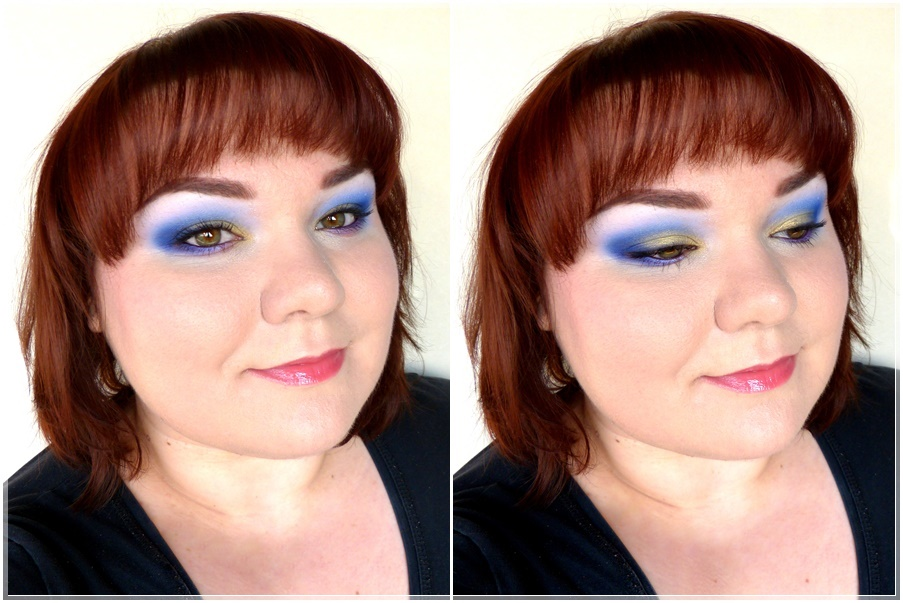 blue smokey make up Look