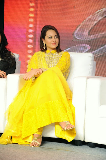 Sonakshi Sinha in Yellow Lucknowi Long Frock Churidar Salwar Kameez at Lingaa Success Meet