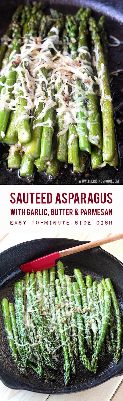 A quick & easy sauteed asparagus recipe with butter, garlic & shredded Parmesan cheese. In about 10 minutes or less, you'll have a simple side dish made with real food ingredients to accompany any meal. Keep reading to learn more about the health benefits of asparagus and why you should eat it with a healthy fat.