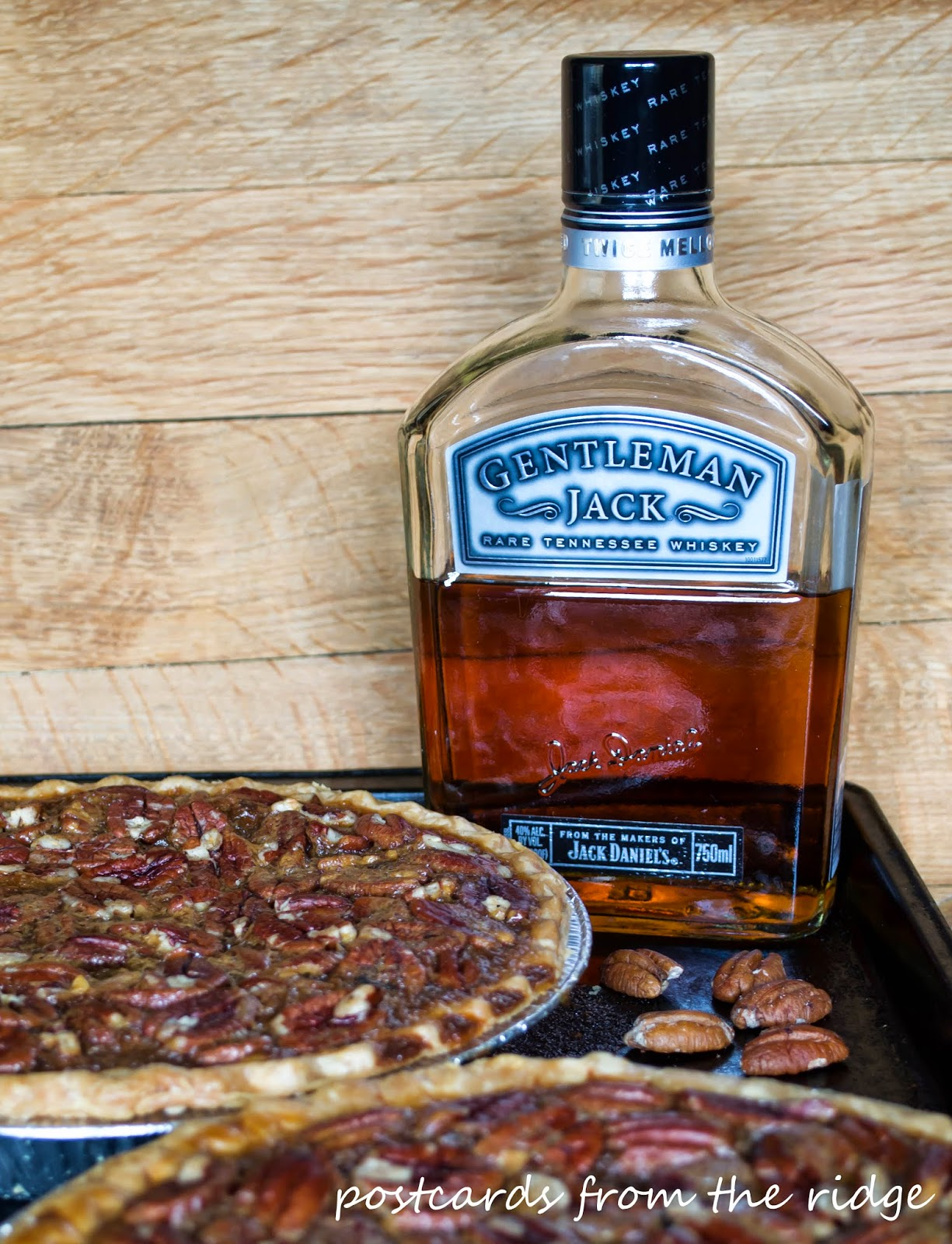 homemade pecan pies with Gentleman Jack Daniels whiskey