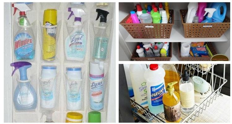 Organizar produtos de limpeza no banheiro